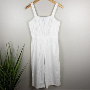 Banana Republic Embroidered Cropped Jumpsuit White
